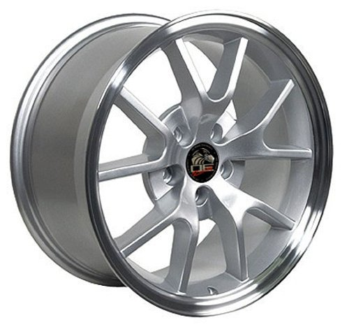 18x9 Wheel Fits Ford Mustang - FR500 Style Silver Rim w/Mach'd Face. Center cap included, factory center cap will interchange