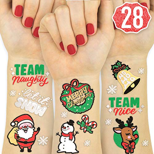 - xo, Fetti Christmas Party Decorations Tattoos - 28 Glitter Styles | Merry Christmas Party Favors, Christmas Eve, Xmas Tree + Lights, Santa, More