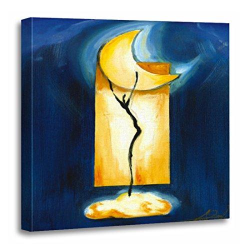 TORASS Canvas Wall Art Print Blue Abstract Moon Dance By Alfred Gockel Yellow Toss Artwork for Home Decor 20
