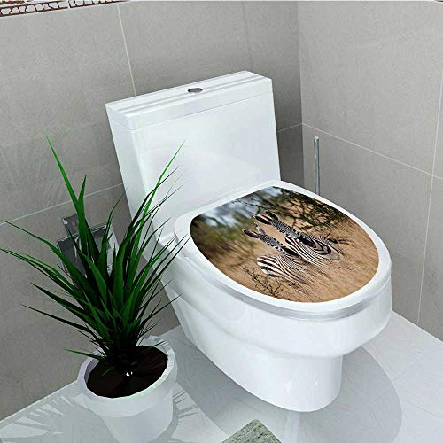 (Printsonne Home Decoration Bushes Looking The Camera Striped Unique Animal Multi Toilet Cover Stickers W8 x L11)
