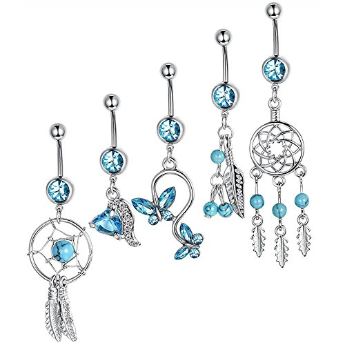 Potato40 40Pcs Women Dream Catcher Zircon Hollow Bar Body Piercing Classy Set It Off Dream Catcher