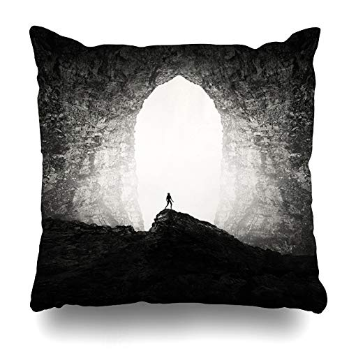 Ahawoso Throw Pillow Covers Dark Huge Cave Entrance On Nature Exploration Adventure Surreal Underground Black Cavern Design Light Home Decor Zippered Pillowcase Square Size 18 x 18 Inches Cushion Case ()