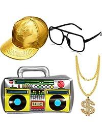 Hip Hop Costume Kit Inflatable Boom Box Gold Baseball Cap Sunglasses Gold Chain 80s/ 90s Rapper Accessories