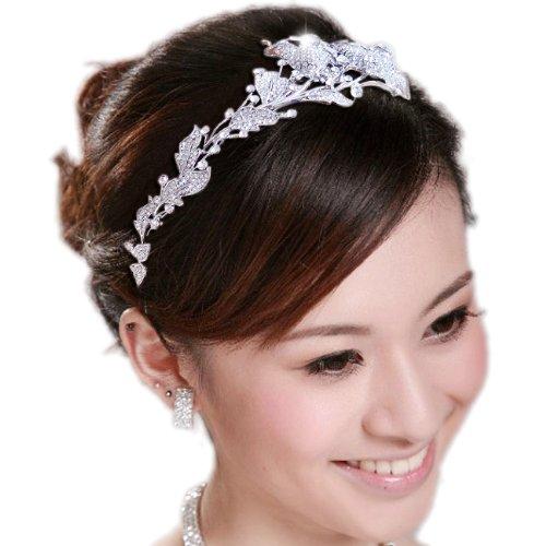 EVER FAITH® Wedding Leaf 2 Flower Bud Headband Clear Austrian Crystal