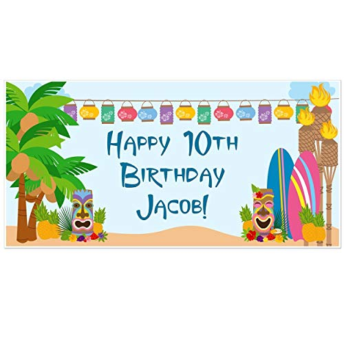 - Hawaiian Luau Tropical Island Birthday Banner Personalized Backdrop Party Decor