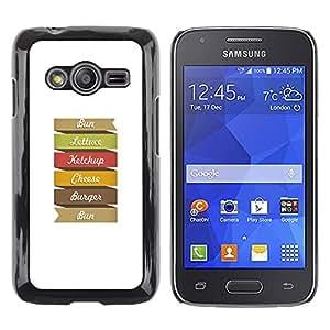 QCASE / Samsung Galaxy Ace 4 G313 SM-G313F / hamburguesa arco iris arte cita muestra colorida / Delgado Negro Plástico caso cubierta Shell Armor Funda Case Cover