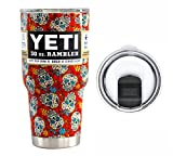 : YETI Coolers 30 Ounce (30oz) (30 oz) Custom Rambler Tumbler Cup Mug with Exclusive Spill Resistant Lid (Dipped Red Sugar Skull)