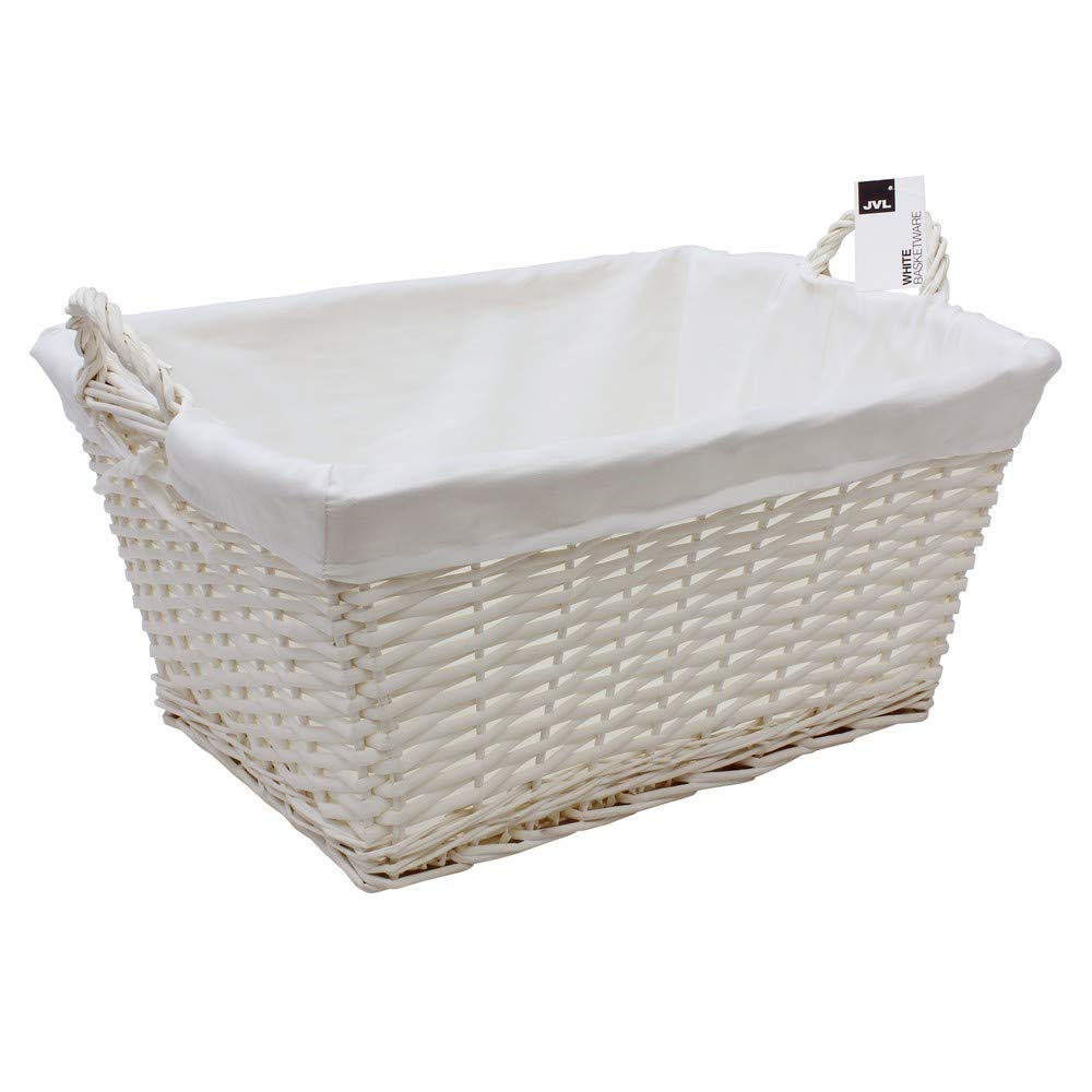 JVL Buff Willow Rectangular Lined Laundry Storage Basket, 57 x 42 x 27 cm 24-304