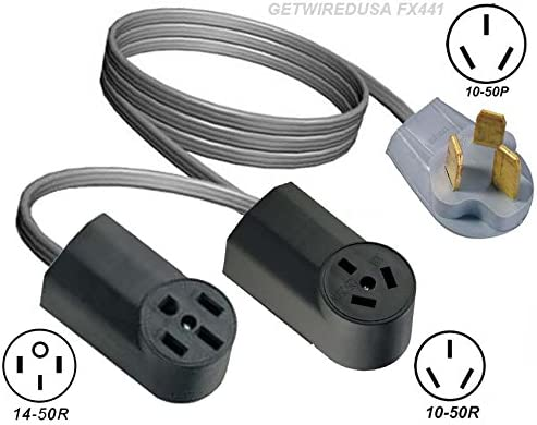 RANGE OVEN Y ADAPTER 10-50P 3-PRONG PLUG to 10-50R 3-PIN /& 14-50R 4-PIN RECEPTACLES Getwiredusa FX441 DRYER. DUAL SPLITTER 2 ADD A SECOND STOVE