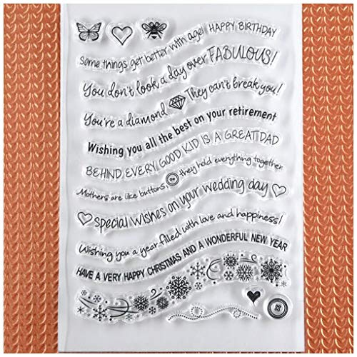 Kwan Crafts Word Happy Birthday Wedding day Happy Christmas New Year Clear Stamps for Card Making Decoration and DIY Scrapbooking