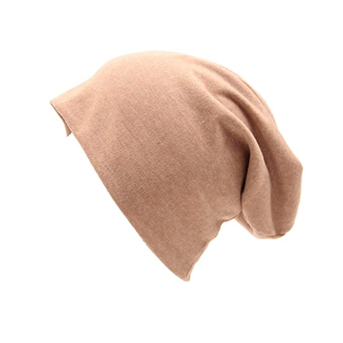 Opromo Unisex Baggy Lightweight Hip-Hop Soft Cotton Slouchy Stretch Beanie  Hat-Beige 7614e8c76884