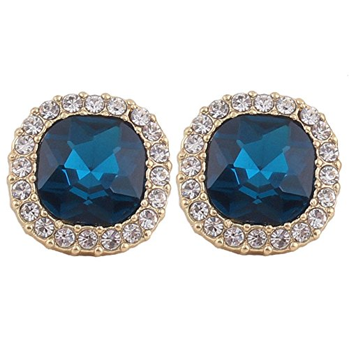 Grace Jun Luxury Bridal Rhinestone Crystal Square Shape Clip on Earrings Non Piercing for Women Ear Clip (Blue)