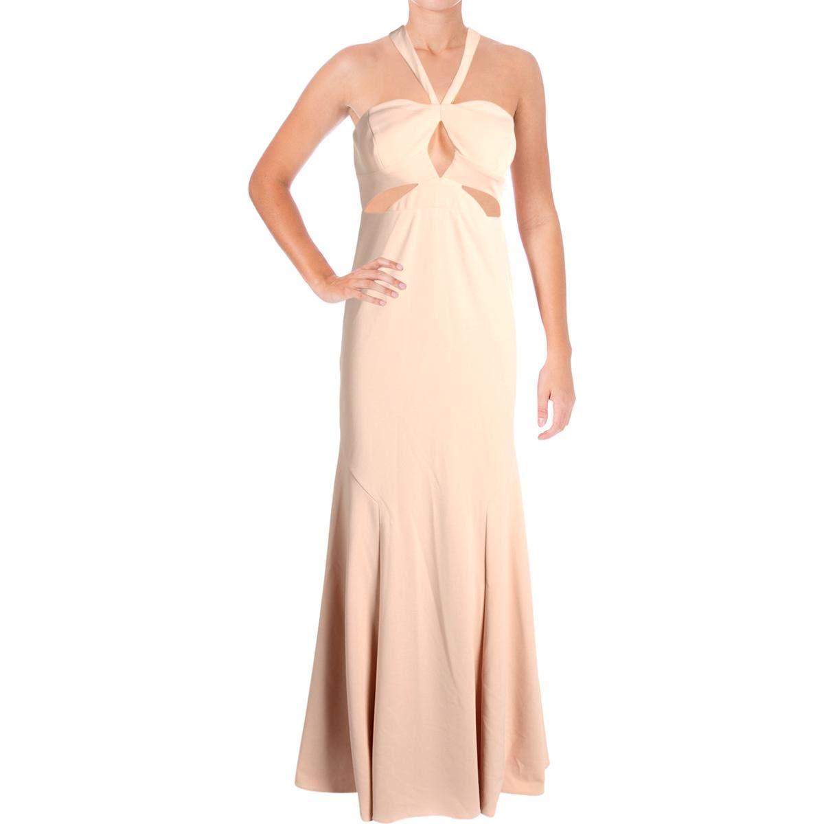 bluesh Aidan Mattox Aidan Womens CutOut Halter Formal Dress