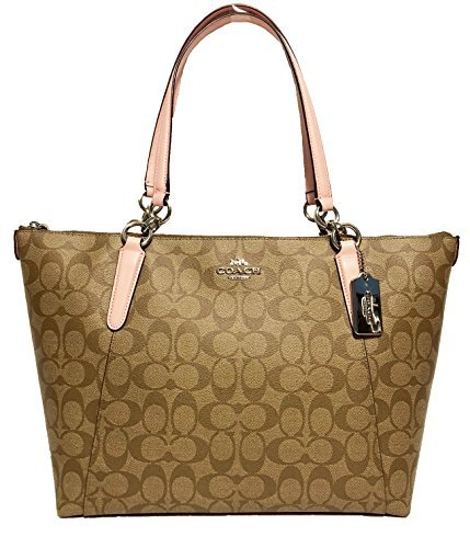 Coach AVA Leather Shopper Tote Bag Handbag (SV/Khaki Blush)