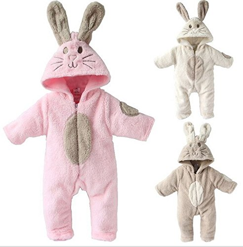 EGELEXY Baby Boy and Girl Winter Jumpsuits Rabbit Animal Romper 50#0-3M Pink