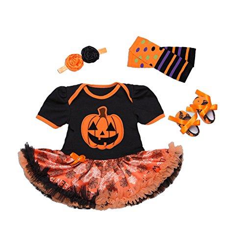 Maxu Baby Girl Pumpkin Halloween Costume Headband Leg Warmer Shoes Set Size 3-6 Months