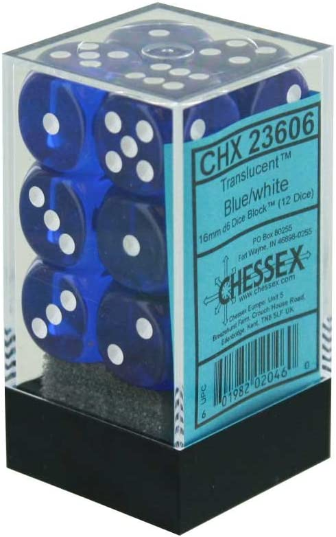 Translucent Blue by Chessex 6-sided Dice
