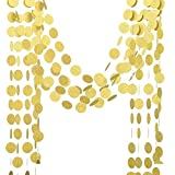 rescozy 3-Pack Glitter Paper Garland Twinkle Star Christmas Garland Circle Dots Wedding, Birthday Party, Baby Shower Decor (gold circle,11.6 Feet)