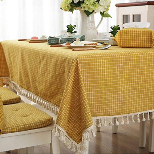Modern simple cotton checkered tablecloth party dining room wedding tablecloths yellow rectangular