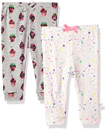 Rosie Pope Girls Baby Newborn 2 Pack Pants, Gray Cupcake, 0-3 Months