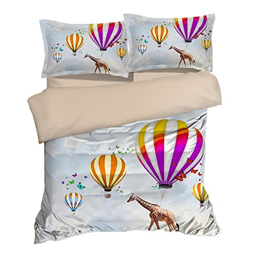 Crazy Walking in the Sky Giraffe Cotton Microfiber 3pc 90''x90'' Bedding Quilt Duvet Cover Sets 2 Pillow Cases Queen Size by DIY Duvetcover