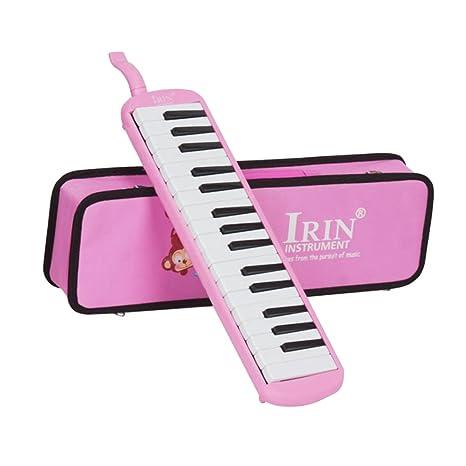 Baoblaze 32 Piano Keys Melodica Instrumento Musical con Estuche para Principiantes Regalo de Niños - Rosa