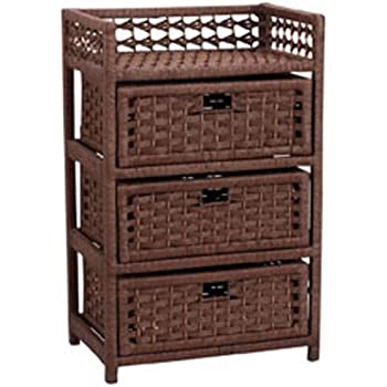 Household Essentials Hand-Woven Paper Rope 3-Drawer Chest, Dark Brown Stain