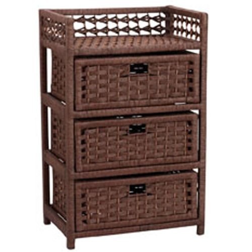 Household Essentials Hand-Woven Paper Rope 3-Drawer Chest, Dark Brown Stain (Drawers Small Wicker)