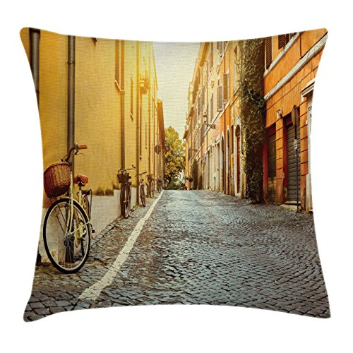 Wanderlust Throw Pillow Cushion Cover by Lunarable, Street in Rome Italy Bicycle Travel Honeymoon Destinations, Decorative Square Accent Pillow Case, 40 X 40 Inches, Blue Grey Apricot Earth Yellow Rome Travel Bicycle