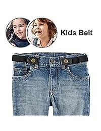 "Buckle-free Stretch Belt for Child Kids No Buckle Elastic Waist Belt Up to 24"" for Jeans Pants (Child Belt-black)"