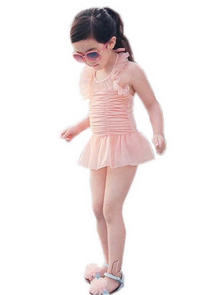 Dreamy Organza Pink Girls One Piece Swimwear Lovely Beachwear, 5-6Years, XL PANDA SUPERSTORE PS-SPO2420249011-EMILY01125