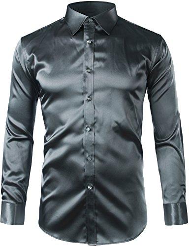Silk Shirt Grey (ZEROYAA Mens Regular Fit Long Sleeve Shiny Satin Silk Like Dance Prom Dress Shirt Tops Z6-Dark Gray Small)