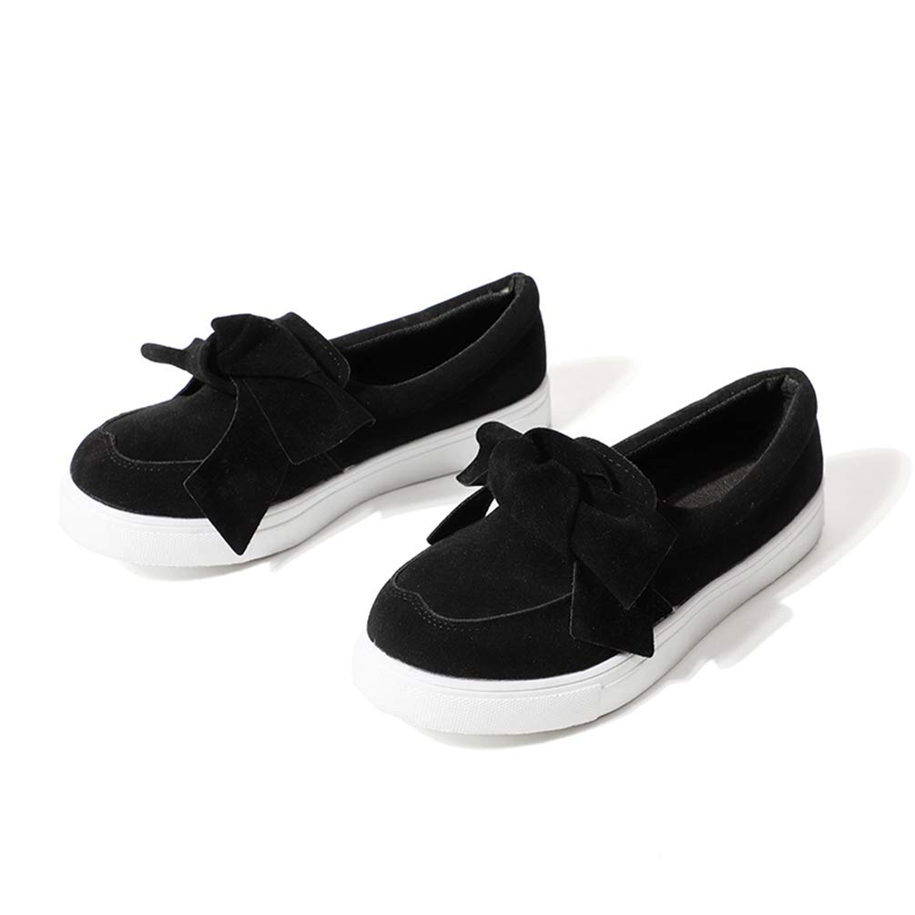 Black T-JULY Women Sewing Casual Loafers Plus Size Platform Slip On Bowtie Flat shoes Female Bowknot Flock Moccasins Footwear