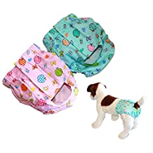 SET of 2 Colors Dog Cat Puppy DIAPERS Female Girl For Small Pet Washable Reusable 100% Cotton size XS, S, M (M: Waist 13 - 16) by FDC