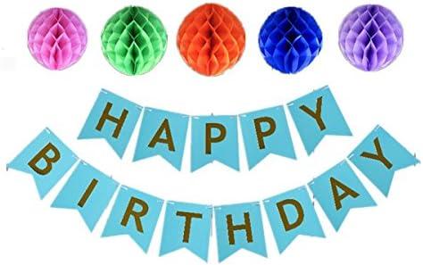 [スポンサー プロダクト]誕生日 飾り付けセット ペーパーポンポン バースデー カラーペーパーハニカムボール パーティー デコレーション ペーパーフラワー 装飾 (ブルー)