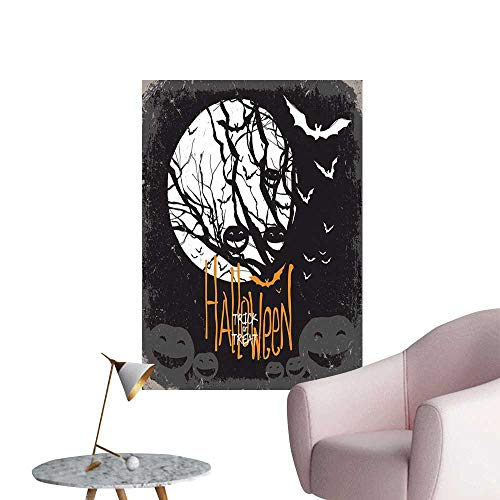 Vintage Halloween Wall Mural Wallpaper Stickers Halloween Themed Image with Full Moon and Jack o Lanterns on a Tree Bedroom Bedside Wall Black White W16 x -