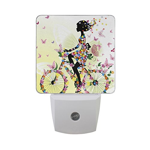 - ALAZA 2 Pack Girl Bicycle Butterfly Bike LED Night Light Dusk to Dawn Sensor Plug in Night Home Decor Desk Lamp for Adult