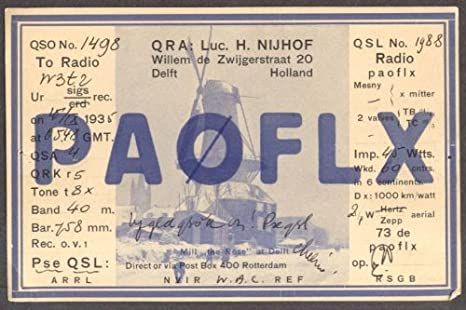 PA0FLX Luc H Nijhof Delft Holland QSL card 1935 at Amazon's