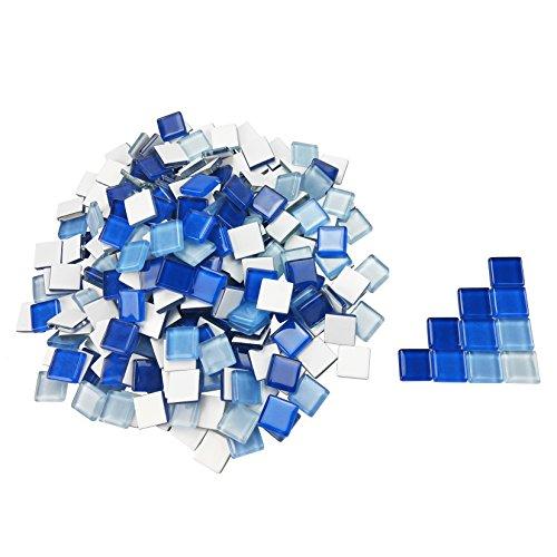 (600 Gram Blue Mosaic Tiles Bulk Glass Mosaic Pieces for DIY Arts Crafts Home Decoration, 1.5cm×1.5cm, by)