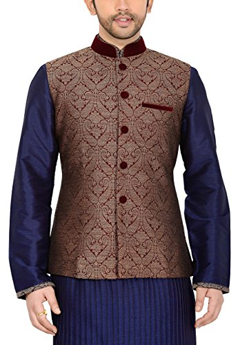 Manyavar Men's Nehru Jacket 38 Maroon by Manyavar