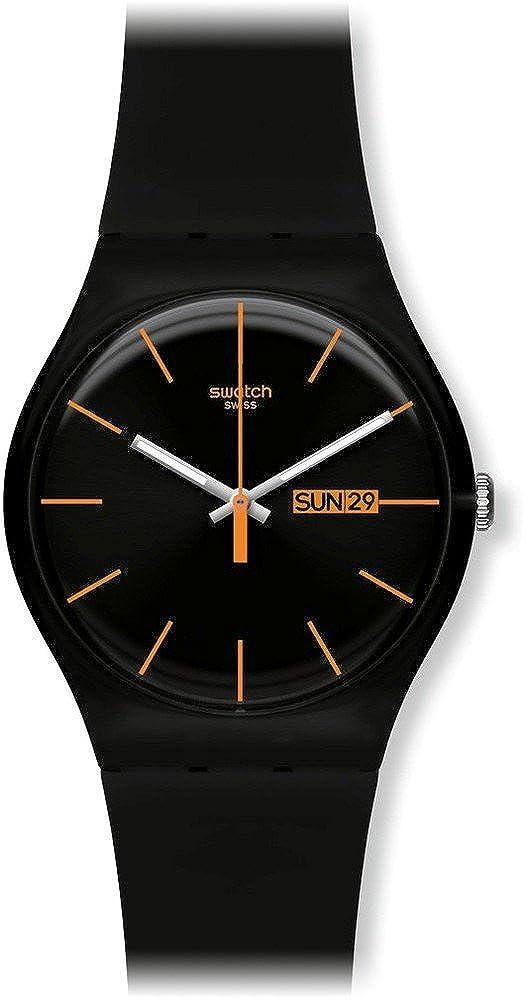 Swatch SUOB704 - Reloj analógico de cuarzo unisex con correa de plástico, color negro