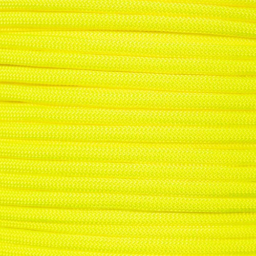 PARACORD PLANET 550 Assorted Colors of Paracord in 50 and 100 Foot Lengths Made in The USA (Neon Yellow, 100 Feet)