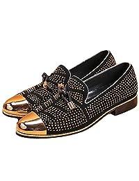 Size 5-12 Fashion Steel Toe Rhinestone Leather Mens Slip On Dress Loafer Shoes