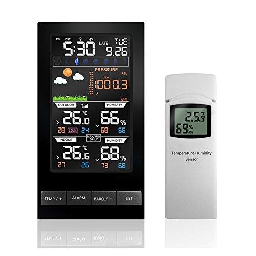 ETBOTU LCD Colorido Display Estación meteorológica Temperatura Humedad Inalámbrico con Barómetro Reloj de Previsión del...