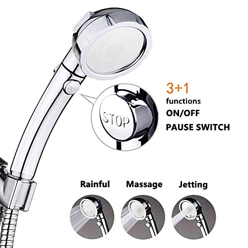 Nosame Shower,High Pressure Handheld Shower Head with ON/Off Pause Switch 3-Settings Water Saving Showerhead, Chrome Finish Bathroom Shower Accessorie ()