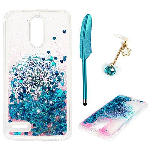 Stars Silver Design Case (LG Stylo 3 Case, LG Stylo 3 Plus Case, LG Stylus 3 Case, Liquid Glitter Case Bling Sparkle Flowing Love Heart Cover Dual Layer Clear TPU Bumper Shockproof Drop Skin ZSTVIVA - Blue Mandala Totem Flower)