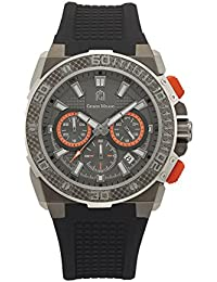 107SGY102 Stainless Steel Chronograph Watch,carbonfiber design bezel,black silicon strap