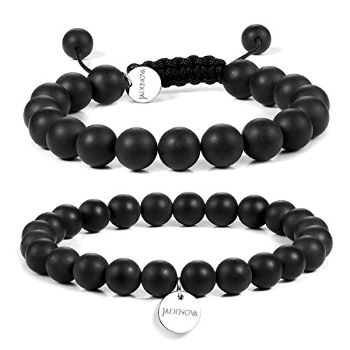JADENOVA 8/10mm Natural Black Matte Onyx Gemstone Bracelet Elastic Stretch Yoga Beaded Bracelet Bangle Healing Crystal Bracelet Couples Gifts for Men Women (2pcs Bracelet Set)