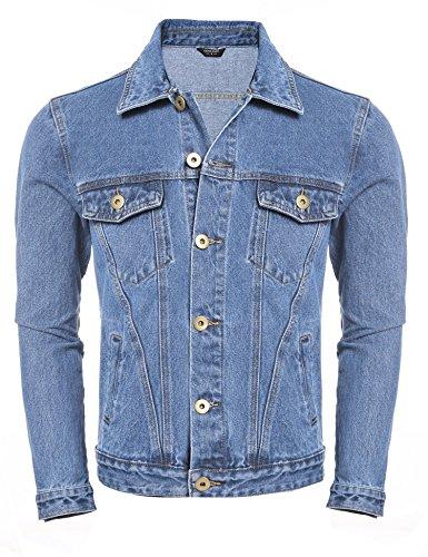 Stitch Denim Jacket (Coofandy Men's Rugged Wear Unlined Jean Denim Jacket, Light Blue, X-Large(US Medium+))