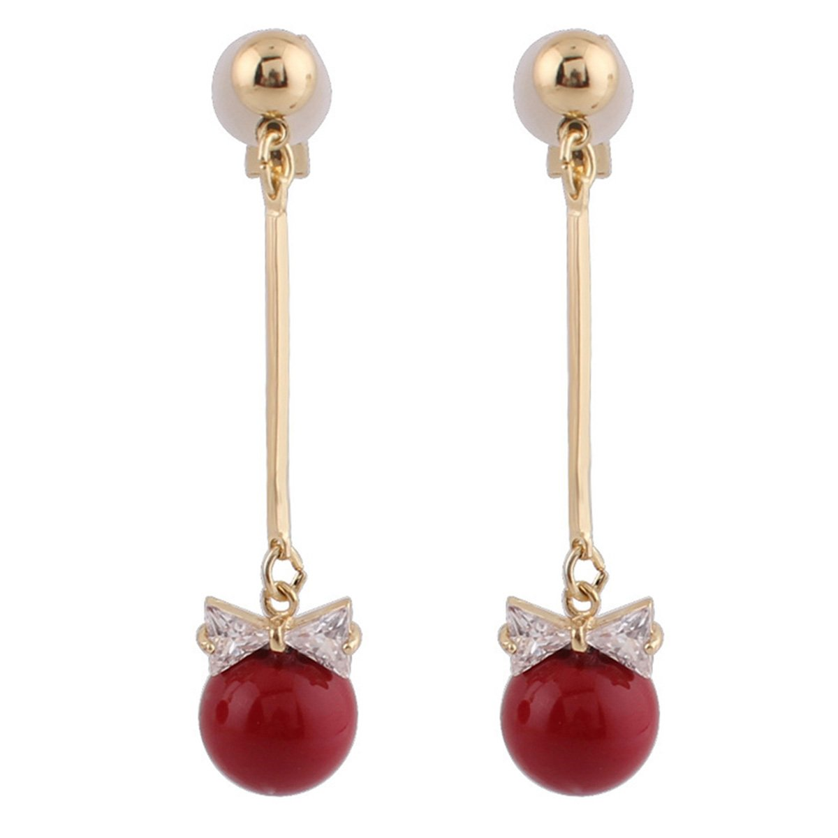 Grace Jun Bridal Gold Plated CZ Bowknot Long Drop Earrings and Clip on Earrings Without Piercing (Clip-on)